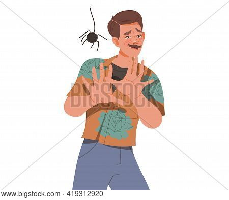 Moustached Man Looking At Spider With Outstretched Arms Uttering Fear Sigh Vector Illustration
