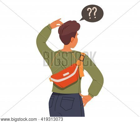 Male Scratching His Head Looking Somewhere Ahead Making Decision Vector Illustration