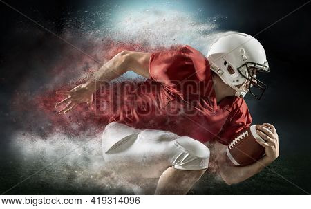 American football sportsman player with ball in action on stadium under lights of background. Sport, proud footballer in white helmet and ready to play.