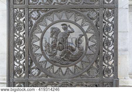 July 2020. London. Marble Arch Gate Detail, London, England United Kingdom Europe