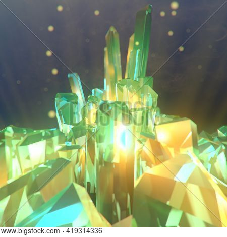 Abstract Magic Shiny Diamond For Decoration Design Emits Glowing Particles. Luxury Digital Illustrat