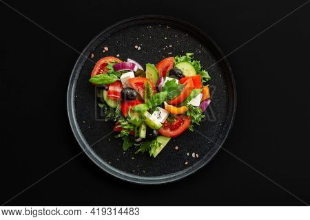 Greek Salad In Heart Shape Love Food Concept, Black Stone Luxury Plate, Top View Flat Lay Design, Bl