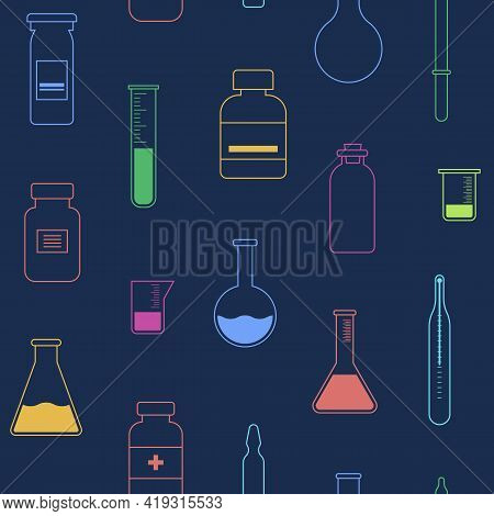 Seamless Pattern With Vials, Test Tubes, Pipette, Ampule, Thermometer. Linear Style. Outline Icons,
