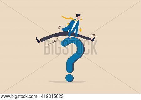 Solution To Solve Business Problem, Answer To Hard Question Or Ambition To Overcome Obstacle Concept