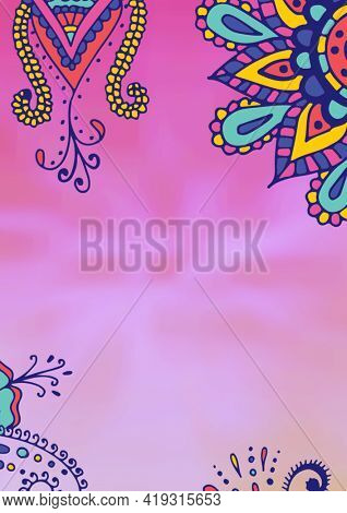 Composition of colourful blue and yellow design elements on cloudy pink background. invitation,wrapping paper or greetings card design template concept with copy space, digitally generated image.