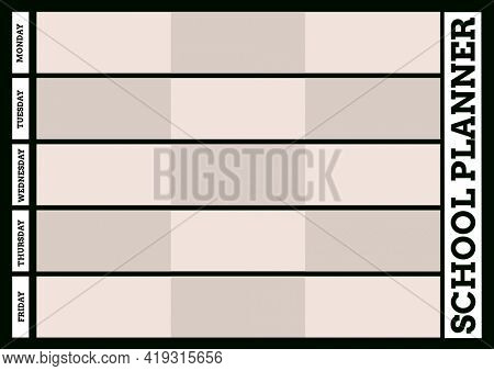 Composition of school planner and days of week text and grid in black, with brown and beige fill. weekly schedule design template concept with copy space for entries, digitally generated image.