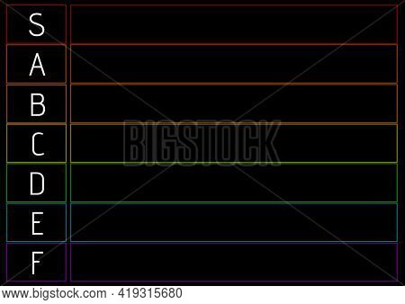 Composition of tier list with white letters and colourful line grid on black background. sport or gaming tier list design template concept with copy space for entries, digitally generated image.