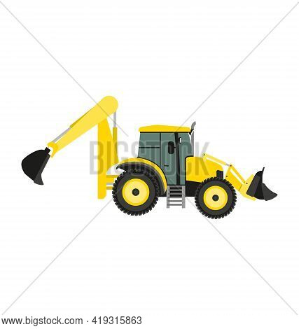 Backhoe Loader - Generic No Brand - Yellow - Side View - Flat Vector Isolated