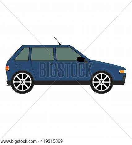 90s Hatchback Car - Blue - Side View - Flat Vector Isolated
