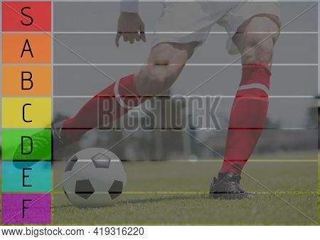 Composition of coloured tier list and grid over soccer player in action kicking ball. sports team tier list design template concept with copy space for entries, digitally generated image.