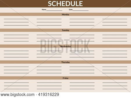 Composition of schedule in white text with days of week and grid in black with brown on beige. weekly schedule design template concept with copy space for entries, digitally generated image