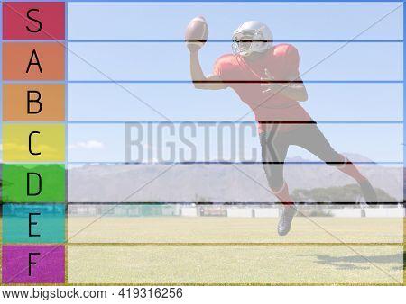 Composition of coloured tier list and grid over american football player in action catching ball. sports team tier list design template concept with copy space for entries, digitally generated image.