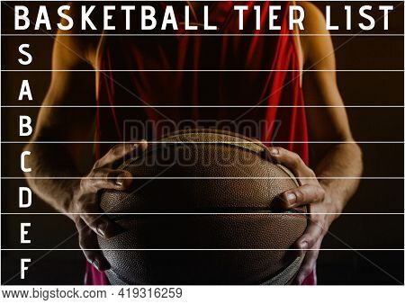 Composition of basketball tier list text and tier grid over player holding ball on black. sports team tier list design template concept with copy space for entries, digitally generated image.