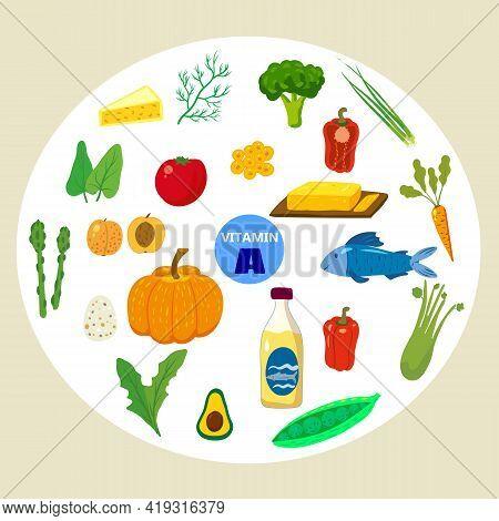 Set Of Vitamin C Origin Natural Sources. Healthy Diary Food, Fruits, Greens, Vegetables, Fish. Organ