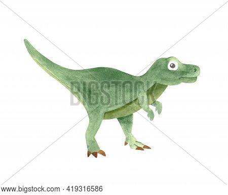 Watercolor Pink Dinosaur Illustration, Cute Tyrannosaurus Rex Isolated On White For Baby Nursery Dec