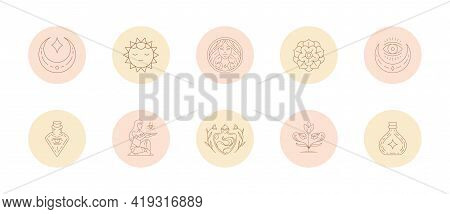 Set Of Icons And Emblems For Social Media Stories Highlight Covers In Linear Style Vector Illustrati