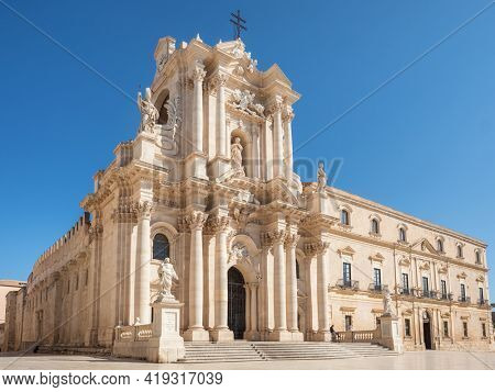 The Duomo Cathedral of Ortigia in Siracusa . Ortygia, Syracuse in Sicily, Italy