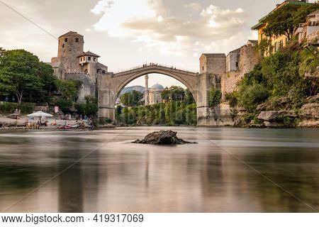 Stari Most bridge in old town of Mostar, Bosnia and Herzegovina. Mostar cityscape at summer