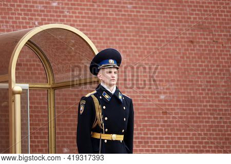 Moscow, Russia - May 2021: Russian Soldier On Duty Near The Kremlin Wall. Honor Guard Of The Preside