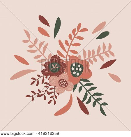 Beautiful Bouquet With Flowers And Leaves. Vector Illustration Of Floral Arrangement.