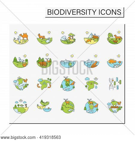 Biodiversity Color Icons Set. Consists Of Desert, Grassland, Tundra, Freshwater, Rainforest, Coral R