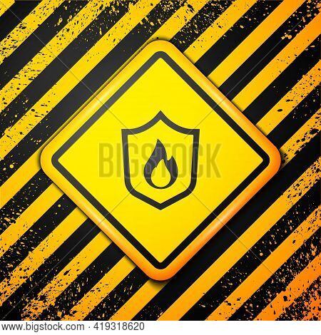 Black Fire Protection Shield Icon Isolated On Yellow Background. Insurance Concept. Security, Safety