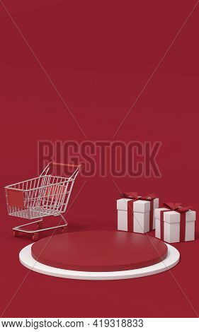 Empty Merchandise Stage With Shopping Cart And Present Box, 3D Rendering.