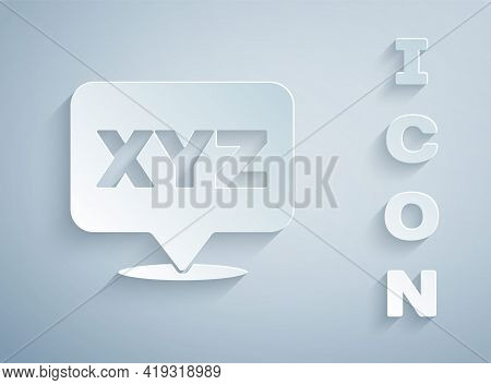Paper Cut Xyz Coordinate System Icon Isolated On Grey Background. Xyz Axis For Graph Statistics Disp
