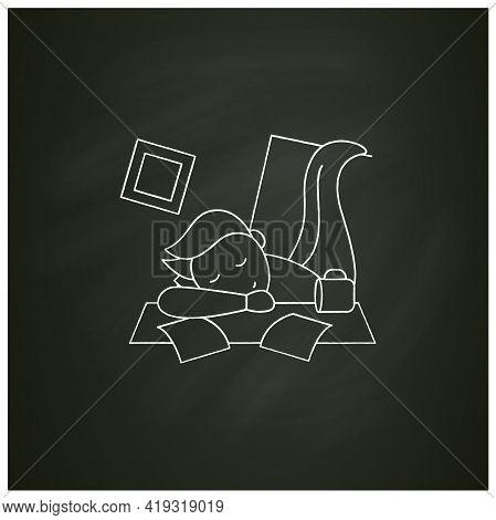 Mess Chalk Icon. Chaos In House. Laziness. Person Sleep On Desk. Procrastination Concept. Isolated V
