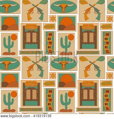 Western Vector Background. Wild West Seamless Pattern. Saloon, Desert, Revolver And Cactus. Vintage