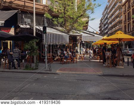 Thessaloniki, Greece - May 03 2021: Bar Restaurants Open For The First Day For The Summer. Crowd Sit