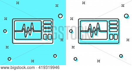 Black Line Computer Monitor With Cardiogram Icon Isolated On Green And White Background. Monitoring