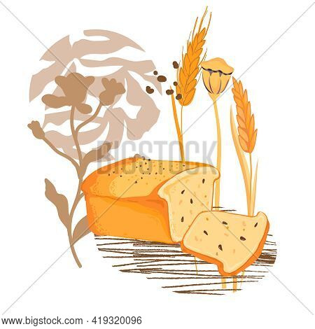 Fresh Baked Bread And Wheat Ears At Decorative Abstract Backdrop, Flat Vector Illustration Isolated