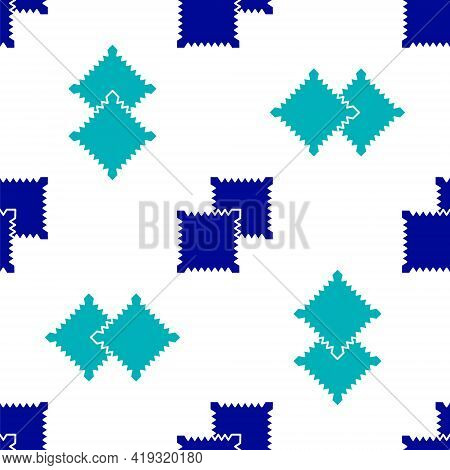 Blue Textile Fabric Roll Icon Isolated Seamless Pattern On White Background. Roll, Mat, Rug, Cloth,