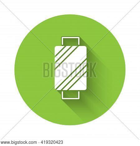 White Sewing Thread On Spool Icon Isolated With Long Shadow. Yarn Spool. Thread Bobbin. Green Circle