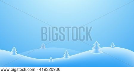 Christmas Holiday Background. Winter Snow December Landscape, White Cold. Christmas Tree On Hill For