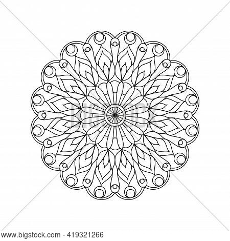 Mandala Line Vector. A Symmetrical Round Monochrome Ornament.
