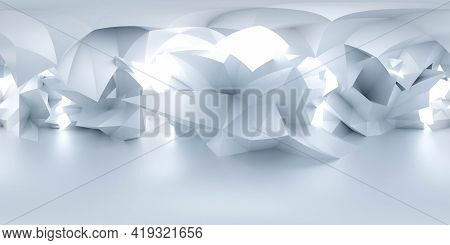 Full 360 Degree Panorama View Of White Abstract Polygon Design Empty Hall Futuristic Architecture 3d