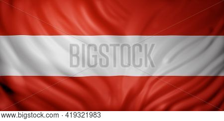 3d Rendering Of A Detail Of A Silked Austria Flag