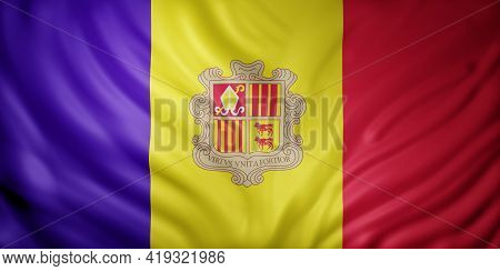 3d Rendering Of A Detail Of A Silked Andorra Flag