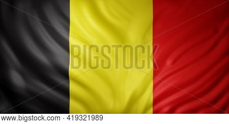 3d Rendering Of A Detail Of A Silked Belgium Flag