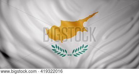 3d Rendering Of A Detail Of A Silked Cyprus Flag