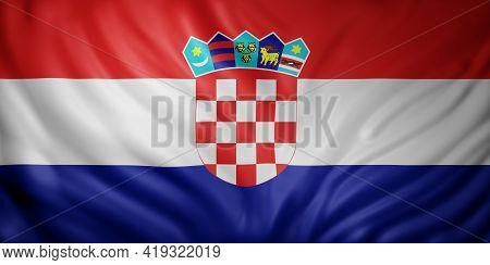3d Rendering Of A Detail Of A Silked Croatia Flag