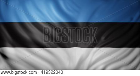 3d Rendering Of A Detail Of A Silked Estonia Flag