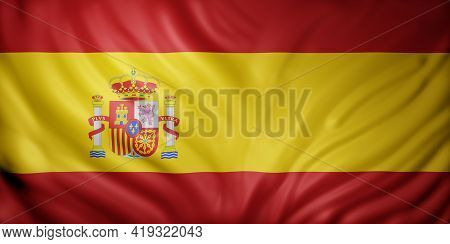3d Rendering Of A Detail Of A Silked Spain Flag