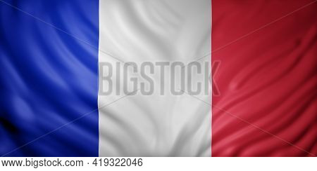 3d Rendering Of A Detail Of A Silked France Flag