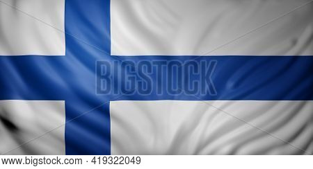 3d Rendering Of A Detail Of A Silked Finland Flag