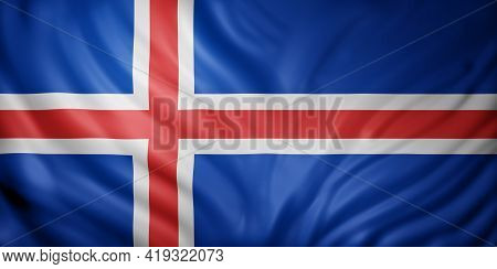 3d Rendering Of A Detail Of A Silked Iceland Flag