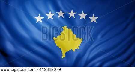 3d Rendering Of A Detail Of A Silked Kosovo Flag