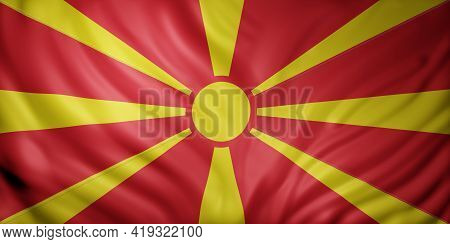 3d Rendering Of A Detail Of A Silked Macedonia Flag